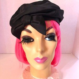 New York Nell Vintage Black Satin Beret with Bow